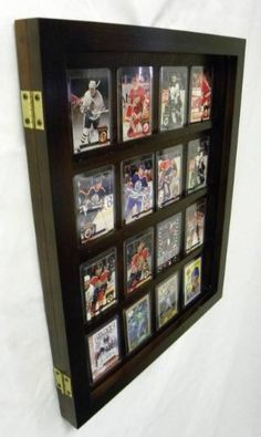 Display case for graded baseball cards Baseball Card Displays, Baseball Cards, Eagles Man Cave Ideas, Action Figure Display Case, Hockey, Card Storage, Book Storage, Framed Jersey, Diy Shadow Box