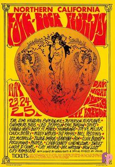 Led Zeppelin, Jimi Hendrix Experience, Steve Miller, Santana, Chuck Berry, Muddy Waters