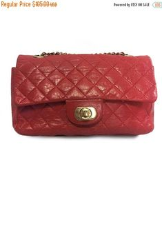 Vtg. Diamond Quilted Genuine aged calfskin & Gold-tone Metal Red Handbag