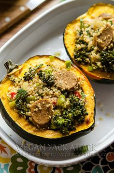 "Quinoa-Stuffed Acorn Squash (vegan recipe) - make it a side dish, but taking out the ""meat"" and serving with some sort of chicken..."