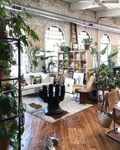 #industrial #stileindustriale Loft Apartment Decorating, Apartment Design, Loft Design, House Design, Loft Style Apartments, Loft Stil, Bedroom Plants, Bedroom Decor, Bohemian Decor