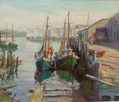 """""""Boats At Dock, Gloucester Harbor"""" by Emile Gruppe, this American artist was the son of an painter.  He didn't begin his career until 1915."""