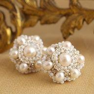 Perla Earrings by Edera Jewelry | Pearl and Silver Lace Wedding Earrings