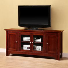 Walker Edison W52C4DO Wood TV Console with Four Doors | ATG Stores