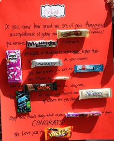 Graduation candy gram - Great give away at Graduation Party Diy Graduation Gifts, Graduation Celebration, Graduation Cards, Graduation Ideas, Graduation 2015, 5th Grade Graduation, High School Graduation, Candy Board, Candy Grams