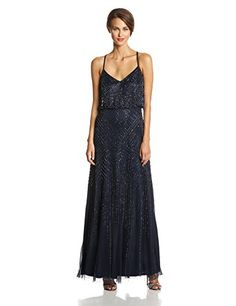 Sleeveless fully beaded blouson gown with v neck. This piece will make you look so very feminine and sexy.