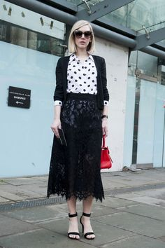 LFW Street Style Day Four: Jane Keltner deValle added perky polka dots to a sheer lace skirt.
