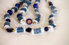 'Denim and Blue Glass Beaded 34 Inch Necklace - Upcycle' is going up for auction at  1pm Mon, Jun 17 with a starting bid of $8.