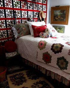Ranch Farmgirl blog at MaryJanesFarm. My guest bedroom - love red.