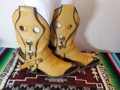 SANDERS-Buckle-Harness-CONCHO-Buckaroo-WOMENS-Cowboy-Western-BOOTS-Size-7-5