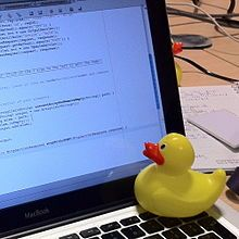 Rubber duck debugging -  an informal term used in software engineering to refer to a method of debugging code.