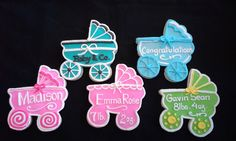 6 Hand Decorated Baby Carriage Cookies by LochelsBakeryLLC on Etsy
