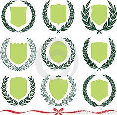 Vector shields and laurel wreaths set by Vector, via Dreamstime