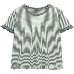 Chicnova Fashion Ruffled Striped T-shirt ($11) ❤ liked on Polyvore featuring tops, t-shirts, stripe tee, green ruffle top, ruffle t shirt, green top and striped tee