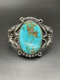 Sterling Silver Cuff Bracelet, Sterling Jewelry, Silver Horse, Mexican Jewelry, Vintage Turquoise, Native American Jewelry, Blue Gem, Turquoise Bracelet, Gems