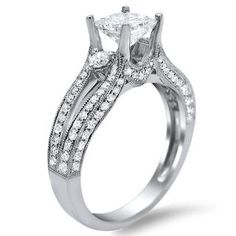 14k White Gold 1 1/2ct TDW Certified Enhanced Princess Cut Diamond Engagement Ring (G-H, SI1-SI2) | Overstock.com Shopping - Top Rated Engag...