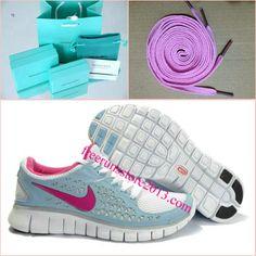 Womens Nike Free Run Blue Pink Shoes