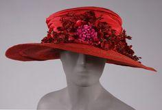 Woman's Hat, Elfman's, Philadelphia, 1918 / Straw, silk taffeta ribbon, artificial flowers.