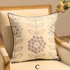 White and blue flowers pillow cover Chinese style embroidered cushion cover