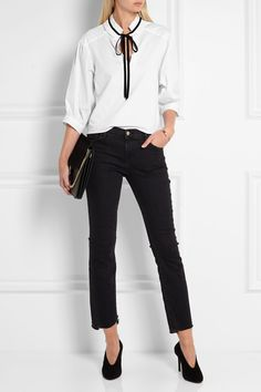 SEE BY CHLOÉ Velvet-trimmed cotton-jersey blouse$250