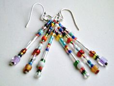 Glass Bead Multi Color Size Shape Earrings (Jellybeans) by CharmedThings on Etsy