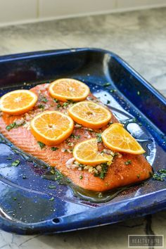 Roasted Salmon and Clementine Gluten Free Paleo High Protein dinner recipe | ahealthylifeforme.com