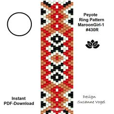 DETAILS: MaroonGirl-1 #430R - endless pattern MaroonGirl-2 #430R - adjustable ring-lenght Peyote ring patterns - odd count Sizes: 1. 1,75 cm x 6,2 cm / 0.69 x 2.44 (1) 2. 1,75 cm x 6,9 cm / 0.69 x 2.72 (2) Beads: Miyuki Delica 11/0 >>>>>>>>>>>>> Coupons-codes: <<<<<<<<<<< 10% discount code: 10PERCENTOFF (Minimum Purchase: € 15,00) 15% discount code: 15PERCENTOFF (Minimum Purchase: € 20,00) 20% discount...