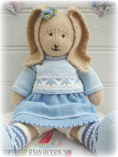 'BLUEBELL Rabbit'...a PDF Knitting Pattern from Mary Jane's TEAROOM...