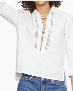 Hollow lace up tops for women plain white high low shirt three quarter  sleeve Blouses For 2a241b56c