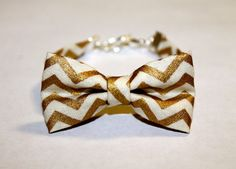 Gold and White Chevron Winter Holiday Bow by OhSoBowBracelets, $6.00