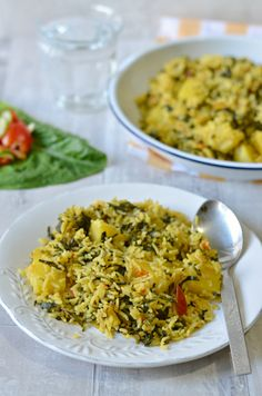 Methi ki Tehri - Spicy rice dish from North India served w/ chilled raita as a complete meal