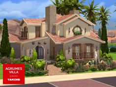 A mediterranean villa with modern lines and warm theme. Found in TSR Category 'Sims 4 Residential Lots'