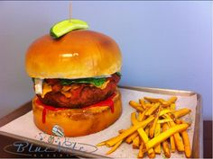 Burger & Fries! Yes...it's cake! | Blue Note Bakery - Austin, Texas