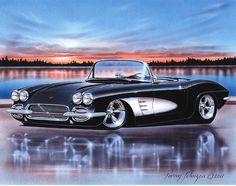 1961 Chevy Corvette Classic Car Art Print w/ Color Options