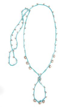 Ethiope Necklace • Aqua • Silver Beads • Crochet • Designed by Kelli Ronci for CORDA