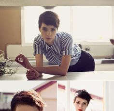 Another  darling short haircut. If only. from here.  >>>M