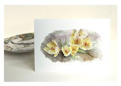 Crocus Card by watercolor artist Kathleen Maunder, trowelandpaintbrush