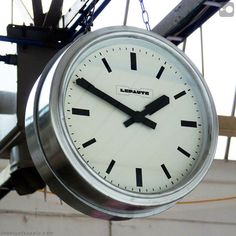 French Double-sided industrial clock salvaged from a Normandy dairy. 1950s.