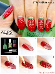 #StrawberryNails by @Alpsnailart .. Apply red nail polish over a base coat.. Paint multiple coats of red polish to build up the required thickness. Apply a layer of top coat in between each coat to prevent red getting too dark... When the polish is 90% dry, use the toothpick to create the texture...With the help of a thin nail art brush, draw a green curve on the cuticles. #fruitnailart #strawberrynailart #nailart #Alpsnailart