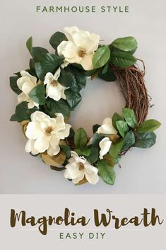Make a simple spring wreath from green and artificial flowers.clubMake a simple spring wreath from green and artificial flowers. flowers a simple wreath of spring greenA Burlap Daisy Wreath Tutorial - Magnolia Wreath, Magnolia Flower, Magnolia Mom, Diy Spring Wreath, Diy Wreath, Tulle Wreath, Wreath Ideas, Wreath Making, Wreath Crafts