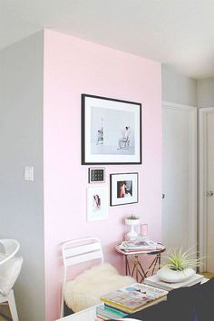 dream home | pastel pink accent wall