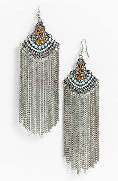 Cara Couture - 'Tribal' Chain Fringe Statement Earrings