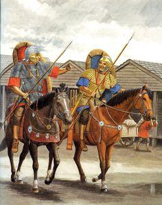 Caballería auxiliar romana durante el Bajo Imperio. Se cubren con cota de malla y están armados con lanza y spatha que cuelga de su costado derecho. Autor desconocido.