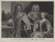 King George I; King George II; Princess Caroline Elizabeth by and published by John Simon, after Unknown artist mezzotint, mid 18th century