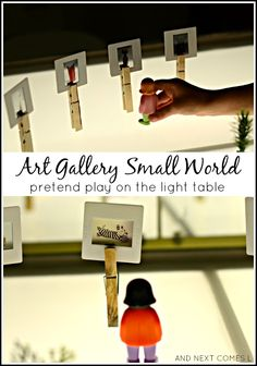 Art gallery small world sensory play - pretend play idea for kids on the light table. Play Based Learning, Learning Spaces, Light Table, Table Lighting, Lighting Ideas, Small World Play, Fun Worksheets, Sensory Play, Sensory Table