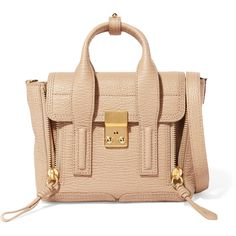 3.1 Phillip Lim Pashli mini textured-leather shoulder bag (15 520 UAH) ❤ liked on Polyvore featuring bags, handbags, shoulder bags, zipper handbag, mini purse, shoulder handbags, zip purse and beige shoulder bag