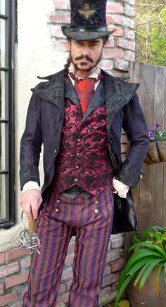 Black Tapestry and Suede Steampunk Frock Cutaway Swallowtail Wedding Jacket,Waistcoat, Trousers, Frilly Shirt and Cravat Steampunk Men, Steampunk Wedding, Victorian Steampunk, Steampunk Clothing, Steampunk Circus, Steampunk Fashion Men, Gothic Clothing, Steampunk Outfits, Gothic Jewelry