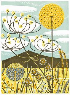 Scarista - linocut print by Angie Lewin