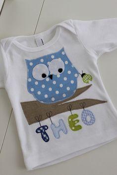 Custumized owl shirts for babies