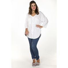 White V-Neck Ruffle Blouse - Yoek plus size fashion
